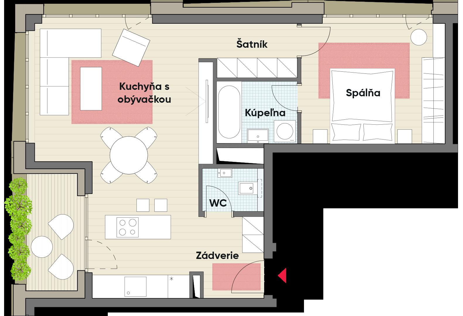 Dvojizbový byt č. 21.1