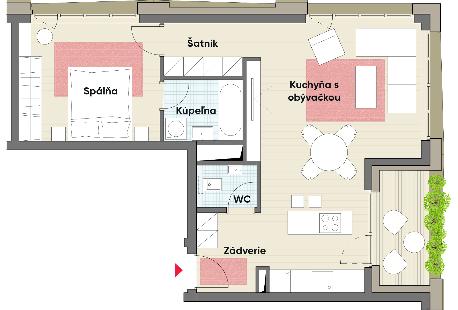 Dvojizbový byt č. 21.2
