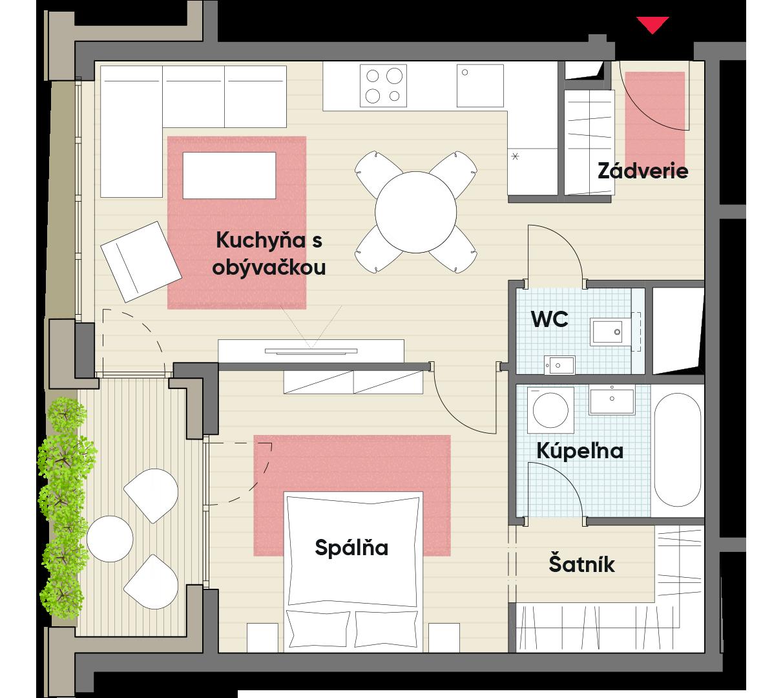 Dvojizbový byt č. 21.3