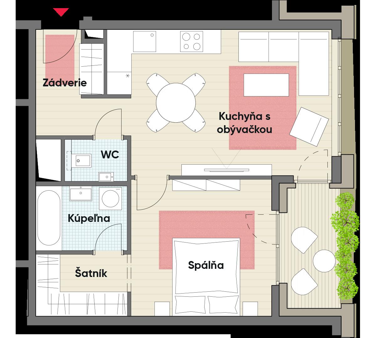 Dvojizbový byt č. 21.4