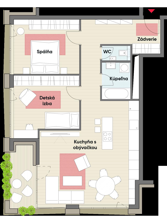 Trojizbový byt č. 14.5