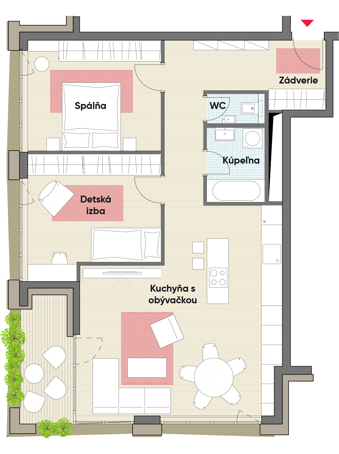 Trojizbový byt č. 6.5