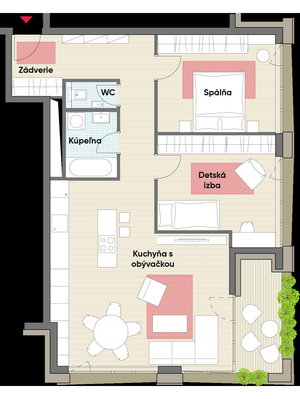 Trojizbový byt č. 16.6
